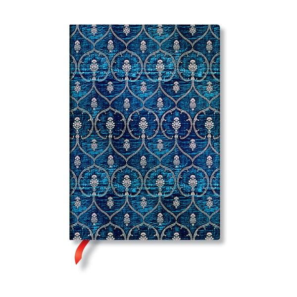 Modrý linkovaný zápisník s tvrdou vazbou Paperblanks Blue Velvet, 144stran