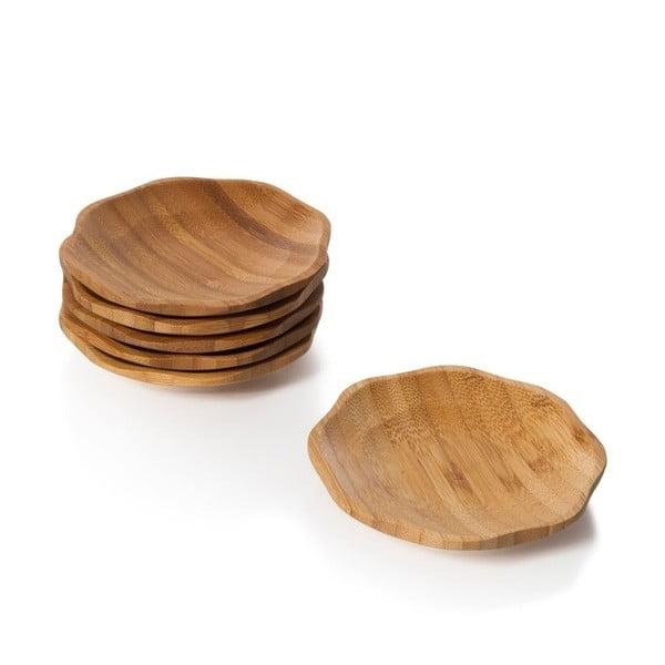 Sada 6 bambusových servírovacích tácok Bambum Papp, ⌀ 11 cm