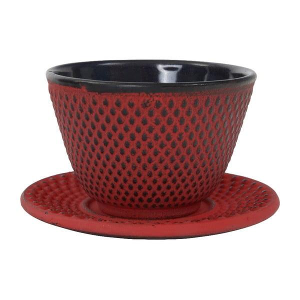 Czerwona żeliwna filiżanka ze spodkiem Tokyo Design Studio Arare, 120 ml