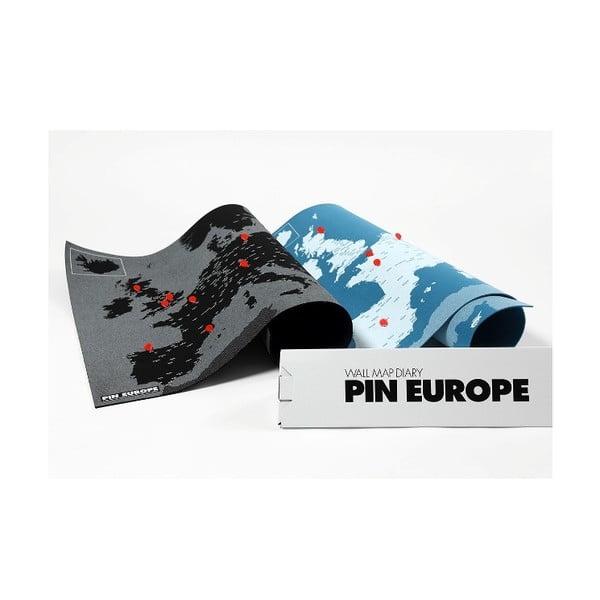 Hartă a Europei de perete Palomar Pin World, 100 x 80 cm, negru