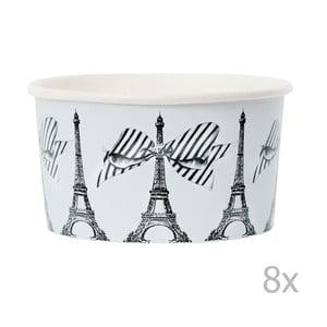 Set 8 cupe hârtie pentru înghețată cu lingurițe Miss Étoile Paris