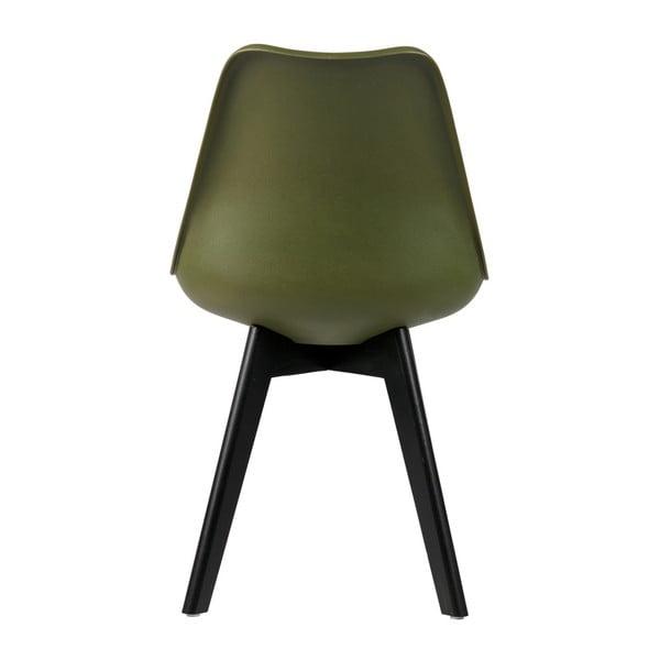 Sada 2 tmavě zelených židlí s nohami z borovicového dřeva WOOOD Stan