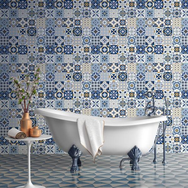 Sada 60 nástěnných samolepek Ambiance Azulejos Nelia, 10 x 10 cm