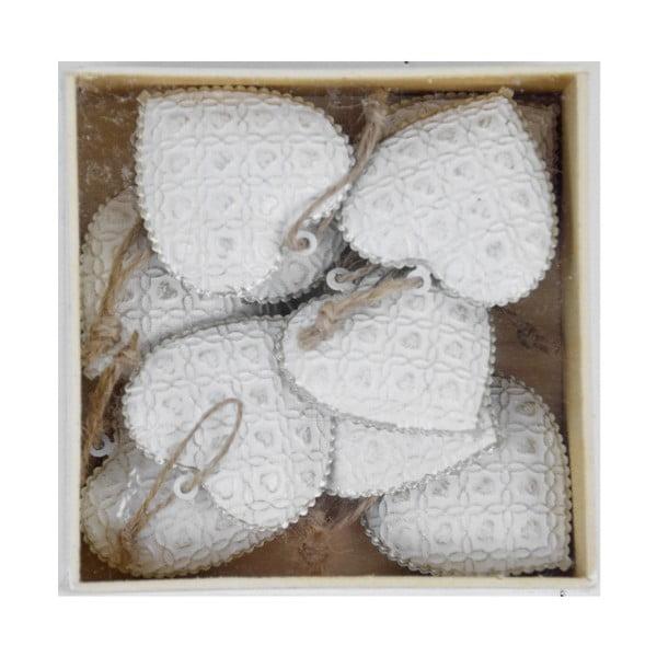 Sada 10 bílých vánočních ozdob ze dřeva ve tvaru srdíčka Ego Dekor X-mass