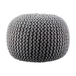 Pletený puf Lob, šedý