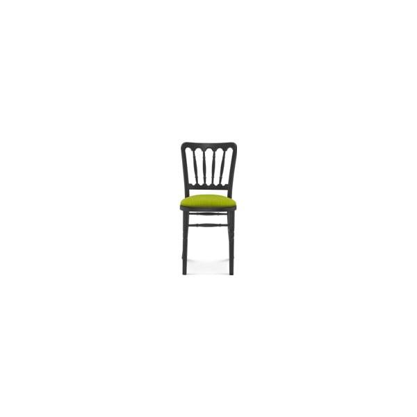 Černá dřevěná židle se zeleným polstrováním Fameg Malene