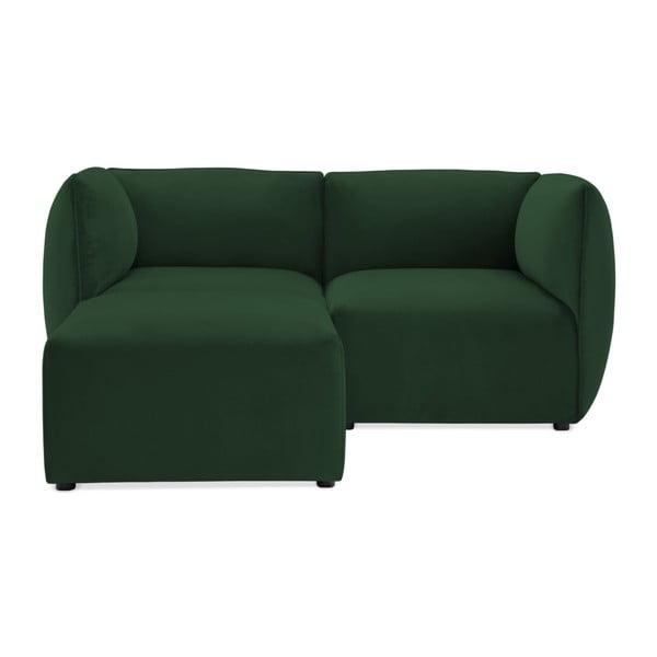 Emeraldově zelená dvoumístná modulová pohovka s podnožkou Vivonita Velvet Cube
