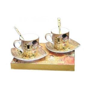 Sada 2 šálků s podšálky a lžičkami HOME ELEMENTS Klimt Espresso