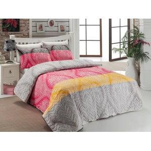 Sada prošívaného přehozu přes postel a dvou polštářů Double 474, 200x220 cm
