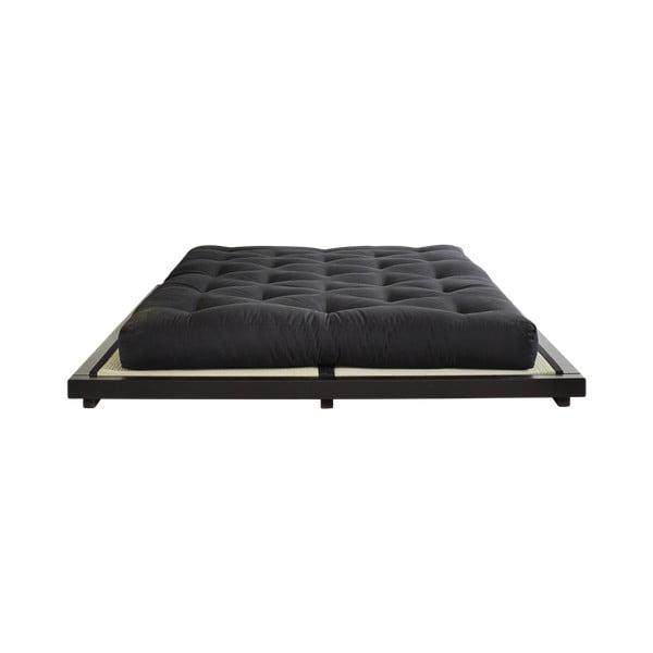 Łóżko dwuosobowe z drewna sosnowego z materacem a tatami Karup Design Dock Double Latex Black/Black, 160x200 cm
