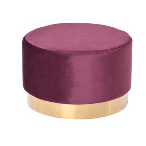 Tmavě vínový sametový puf s podnožím ve zlaté barvě Miloo Home Nuevo, ⌀55cm