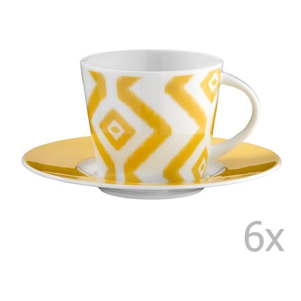 Zestaw 6 filiżanek porcelanowych do herbaty ze spodkami Vasilissa, 200 ml