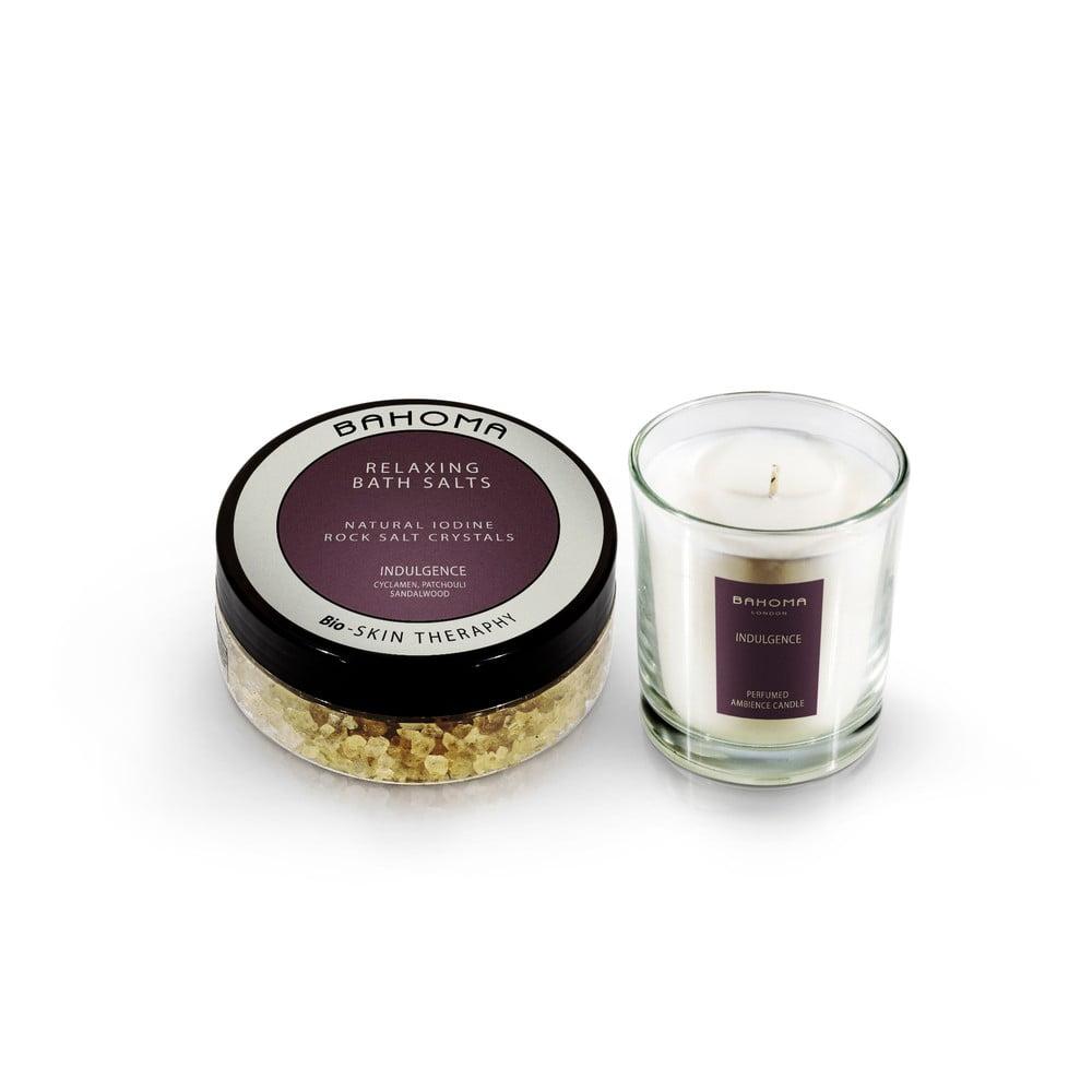 Set koupelové soli a vonné svíčky s vůní švestek a vanilky Bahoma London