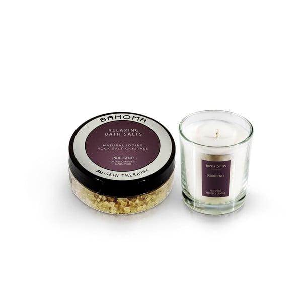 Komplet soli do kąpieli i świeczki o zapachu śliwek i wanilii Bahoma London