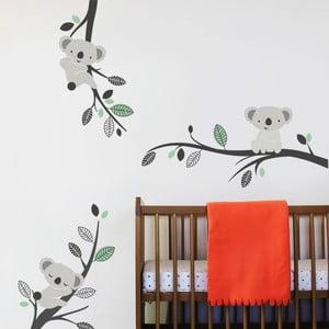 Samolepka na stěnu Koaly a větve, mentolová - 2 archy, 70x50 cm