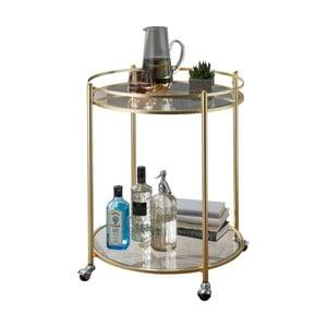 Příruční stolek ve zlaté barvě na kolečkách Skyport James, ⌀ 57 cm