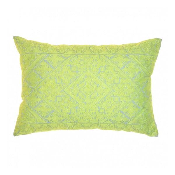 Vyšívaný polštář Berber Neon Yellow, 36x49 cm