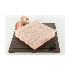 Sada 2 pudrově růžových osušek Cizgili, 50x90 cm