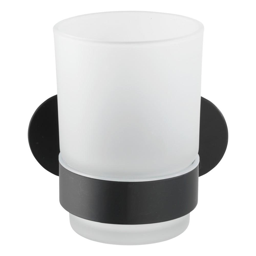 Produktové foto Bílý nástěnný kelímek na kartáčky s matně černým držákem z nerezové oceli Wenko Uno Bosio Turbo-Loc®