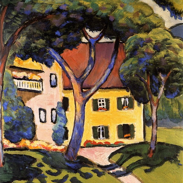 House in a Landscape másolat, 60 x 60 cm - August Macke