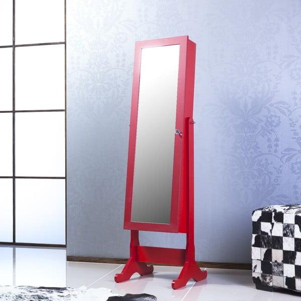 Stojací zrcadlo se šperkovnicí Adriana, červené