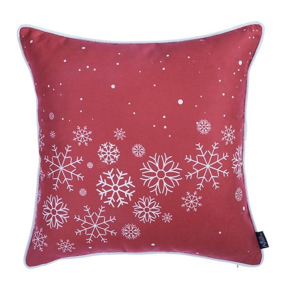 Červený povlak na polštář s vánočním motivem Apolena Honey Snowflakes, 45 x 45 cm