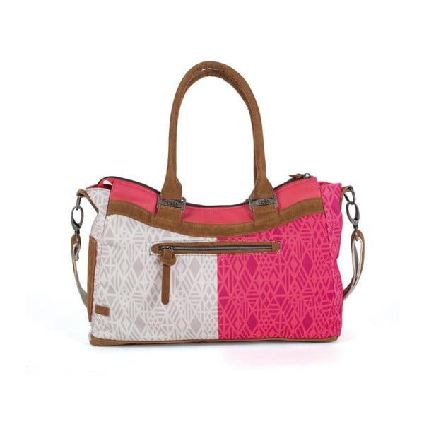 Růžovo-bílá kabelka Lois, 43 x 25 cm