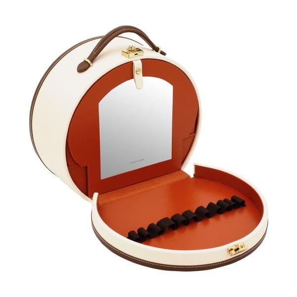 Světle béžová šperkovnice/kosmetický kufřík Friedrich Lederwaren Ascot