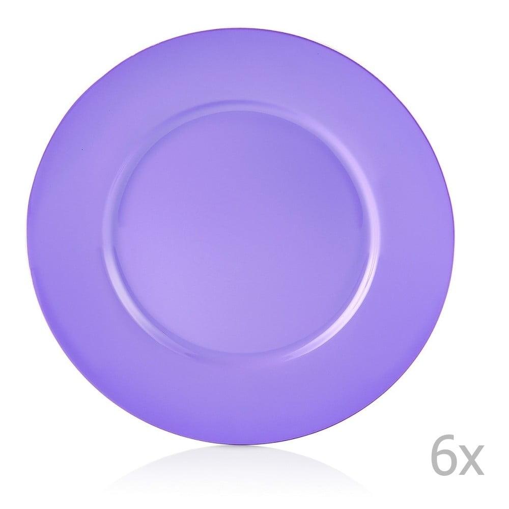 Sada 6 fialových porcelánových talířů Efrasia