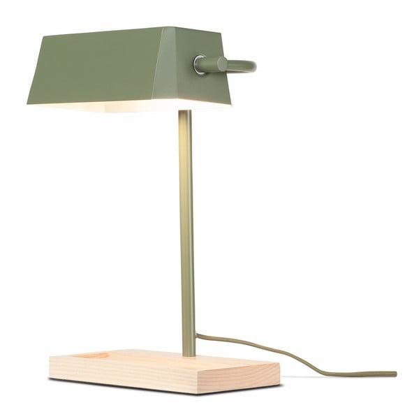 Šedozelená stolní lampa s prvky z jasanového dřeva Citylights Cambridge