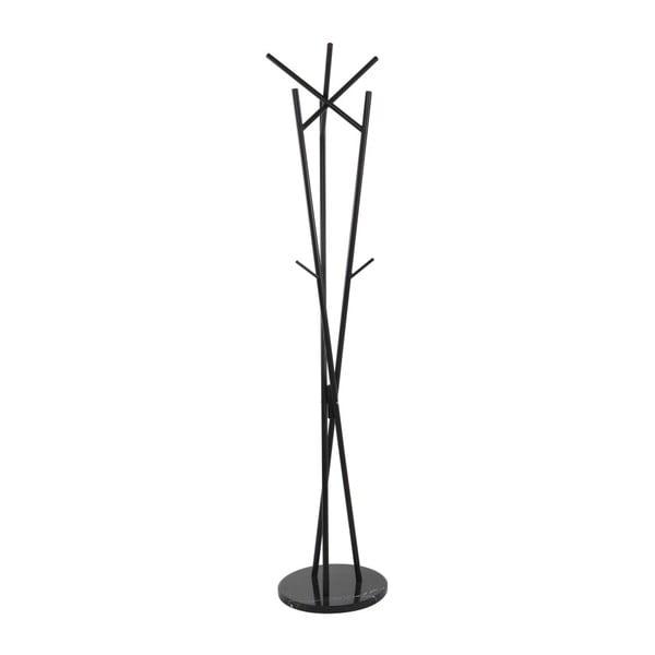Cuier din oțel cu elemente din lemn de fag și bază de marmură Grus, negru