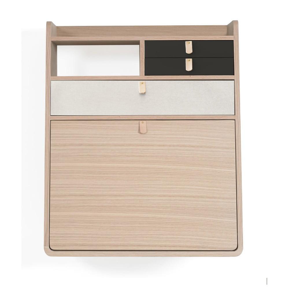 Nástěnný sekretář z dubového dřeva s šedými a bílými zásuvkami HARTÔ Gaston, šířka60cm