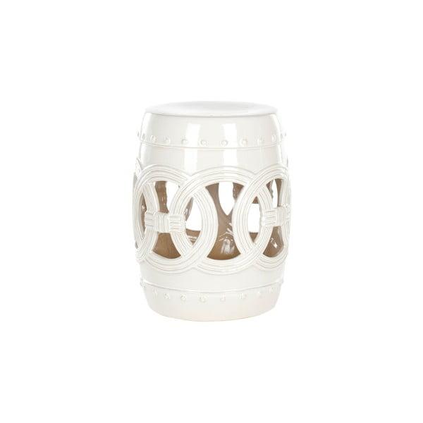 Biały stolik ceramiczny odpowiedni na zewnątrz Safavieh Antique White, ø 33 cm