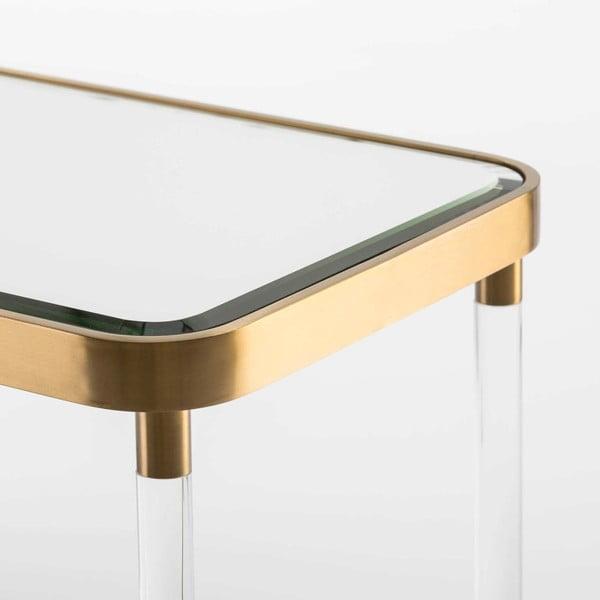 Zrcadlový konzolový stolek s detaily ve zlaté barvě Thai Natura, délka120cm
