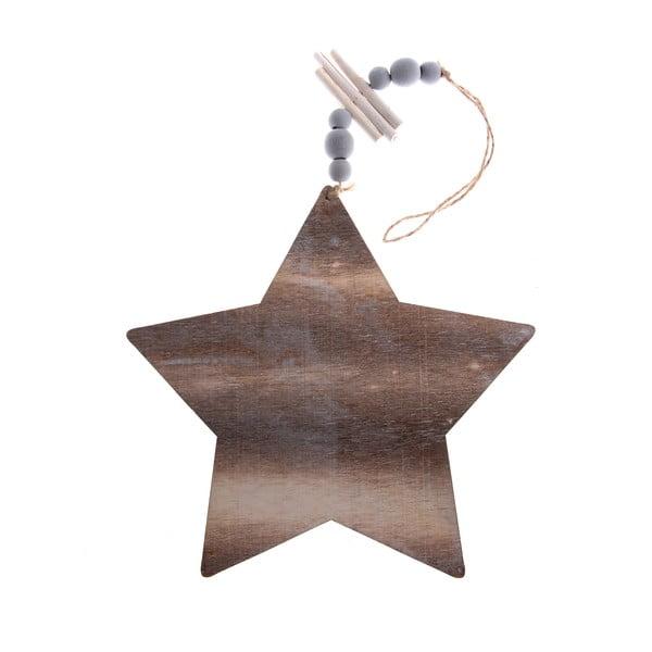 Dřevěná závěsná ozdoba ve tvaru hvězdy Dakls, délka 22,5 cm