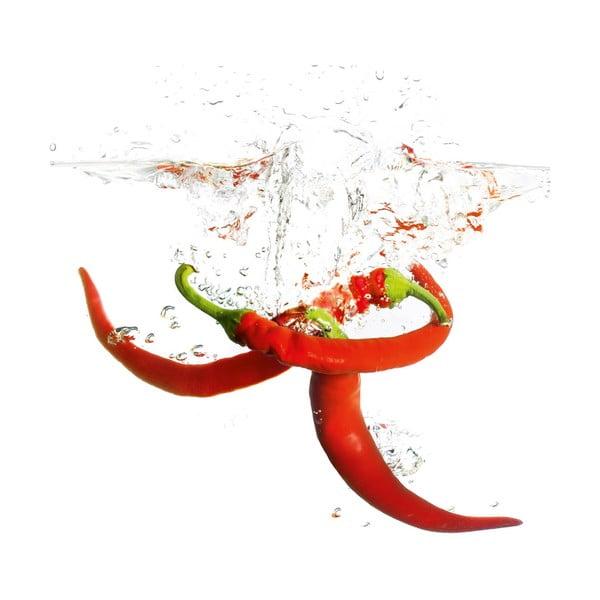 Skleněný obraz Splashing Chili Pepper, 20x20 cm