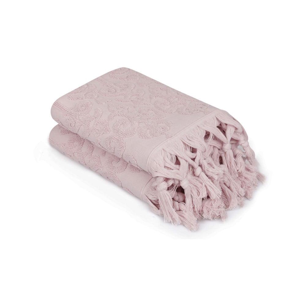 Sada 2 pudrově růžových ručníků Madame Coco Bohème, 50 x 90 cm Saheser