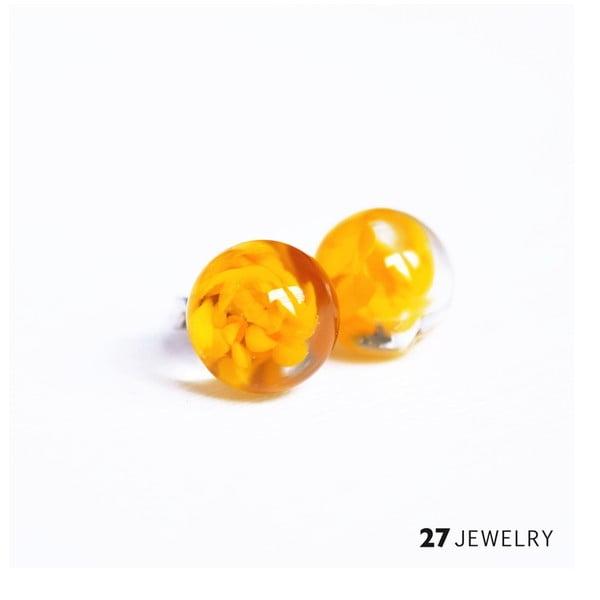 Žluté náušnice ze skla Enamor