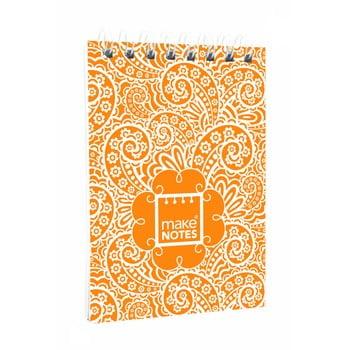 Blocnotes A7 Makenotes Paisley One, 64 file, portocaliu de la Makenotes