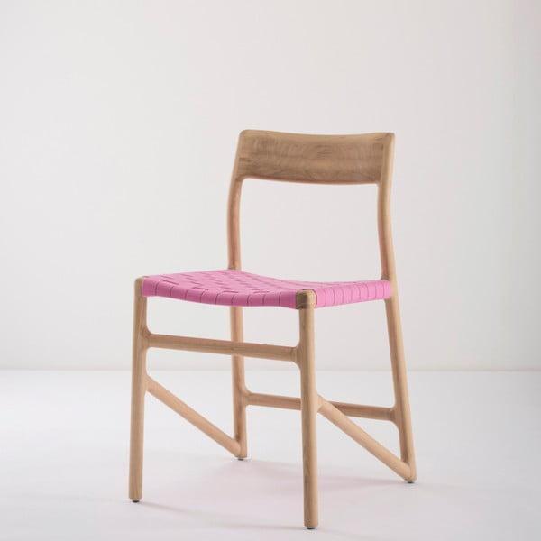 Fawn étkezőszék tömör tölgyfából, rózsaszín ülőrésszel - Gazzda
