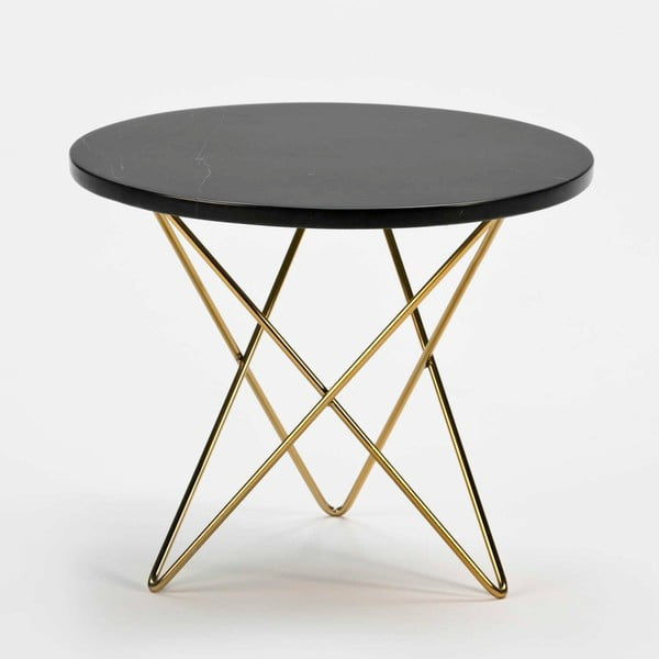 Odkládací stolek s černou mramorovou deskou a konstrukcí ve zlaté barvě Thai Natura, ⌀45cm