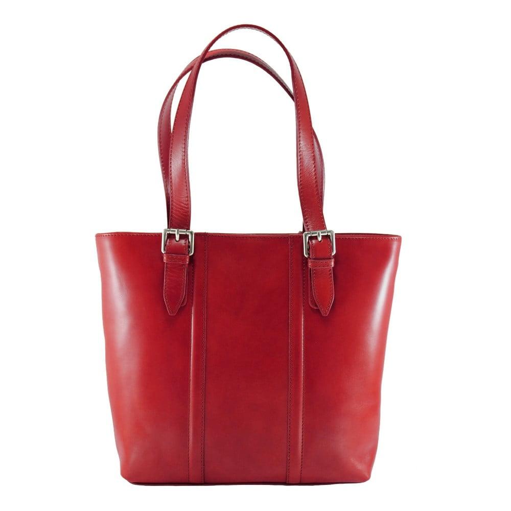 Červená kožená kabelka Chicca Borse Fiona