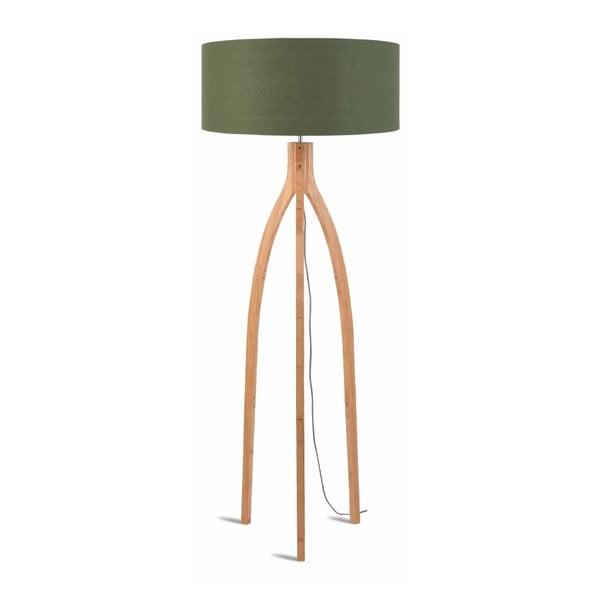 Stojací lampa se zeleným stínidlem a konstrukcí z bambusu Good&Mojo Annapurna