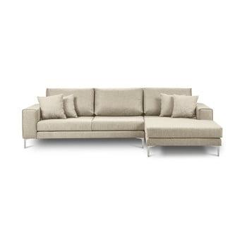 Canapea pe colț cu 4 locuri Cosmopolitan Design Cartegena, pe partea dreaptă, bej