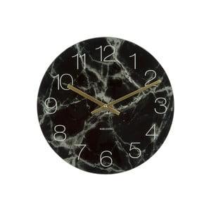 Černé hodiny Present Time Glass Marble, ⌀ 17cm