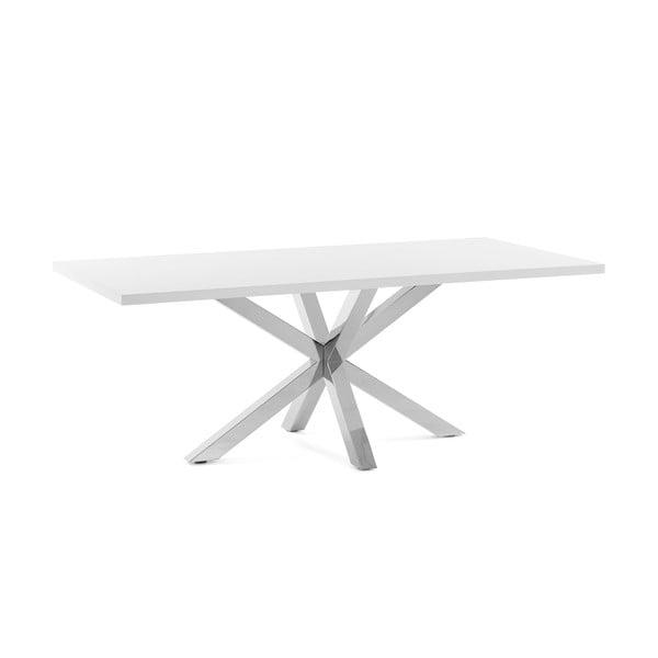 Bílý jídelní stůl s podnožím z nerezové oceli La Forma Arya, délka 160cm