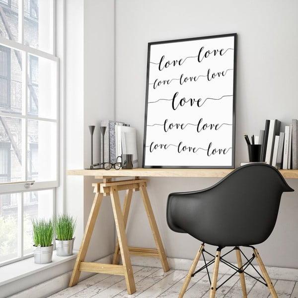 Plakát v dřevěném rámu Love love love, 38x28 cm