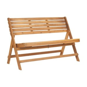 Hnědá zahradní skládací lavice z akáciového dřeva Safavieh Ferrat