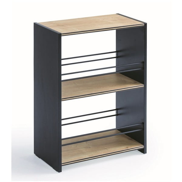 Black Small Bookcase kicsi fekete könyvespolc, natúr színű polcokkal