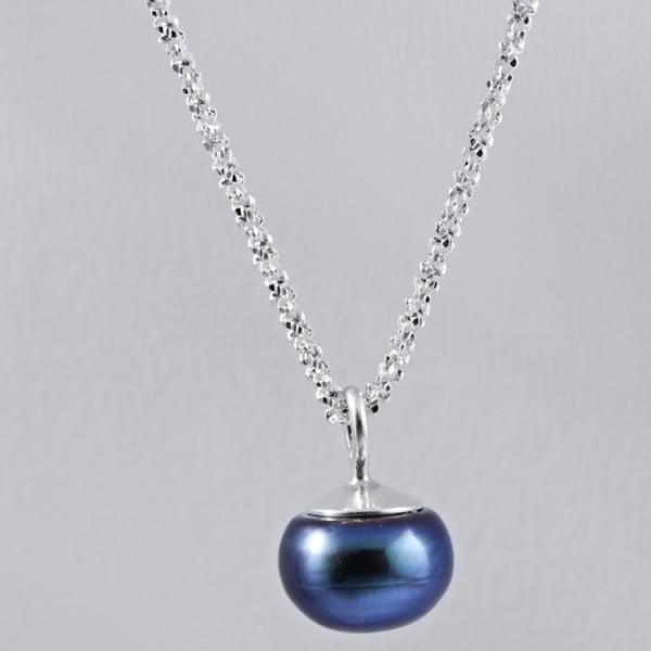 Stříbrný náhrdelník s modrou perlou 9,5 mm